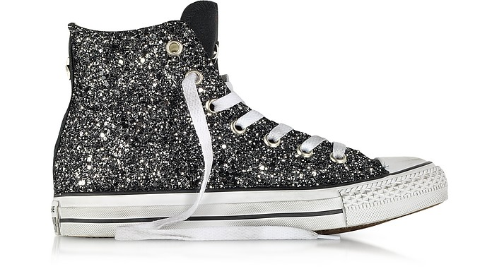 All Star Hi Black Canvas w/Silver Glitter LTD Sneaker - Converse Limited Edition