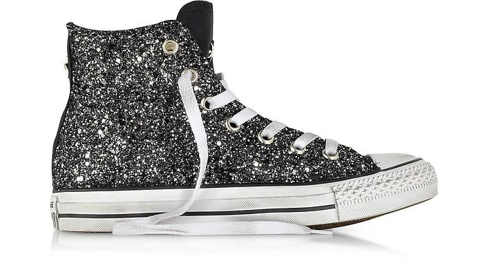 All Star Hi - Кеды из Черной Ткани с Серебристыми Пайетками, ОВ - Converse Limited Edition