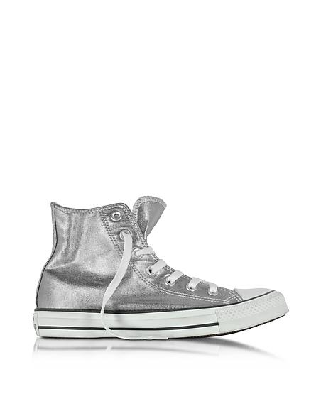 Converse Limited Edition All Star - Sneakers Montantes Femme en Toile Métallisée Gris Chrome