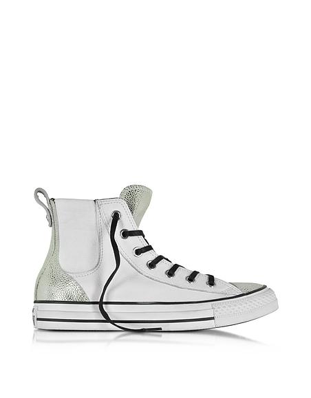 Converse Limited Edition All Star - Baskets Montantes Femme en Cuir Blanc Optique et Argent