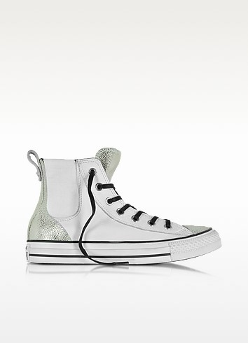 All Star High White & Silver Chelsee Leather Women's Sneaker - Converse Limited Edition