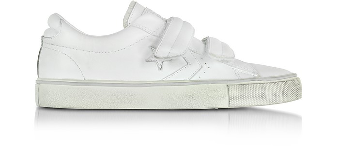Pro Leather Distressed White Strap Unisex Sneaker - Converse Limited Edition
