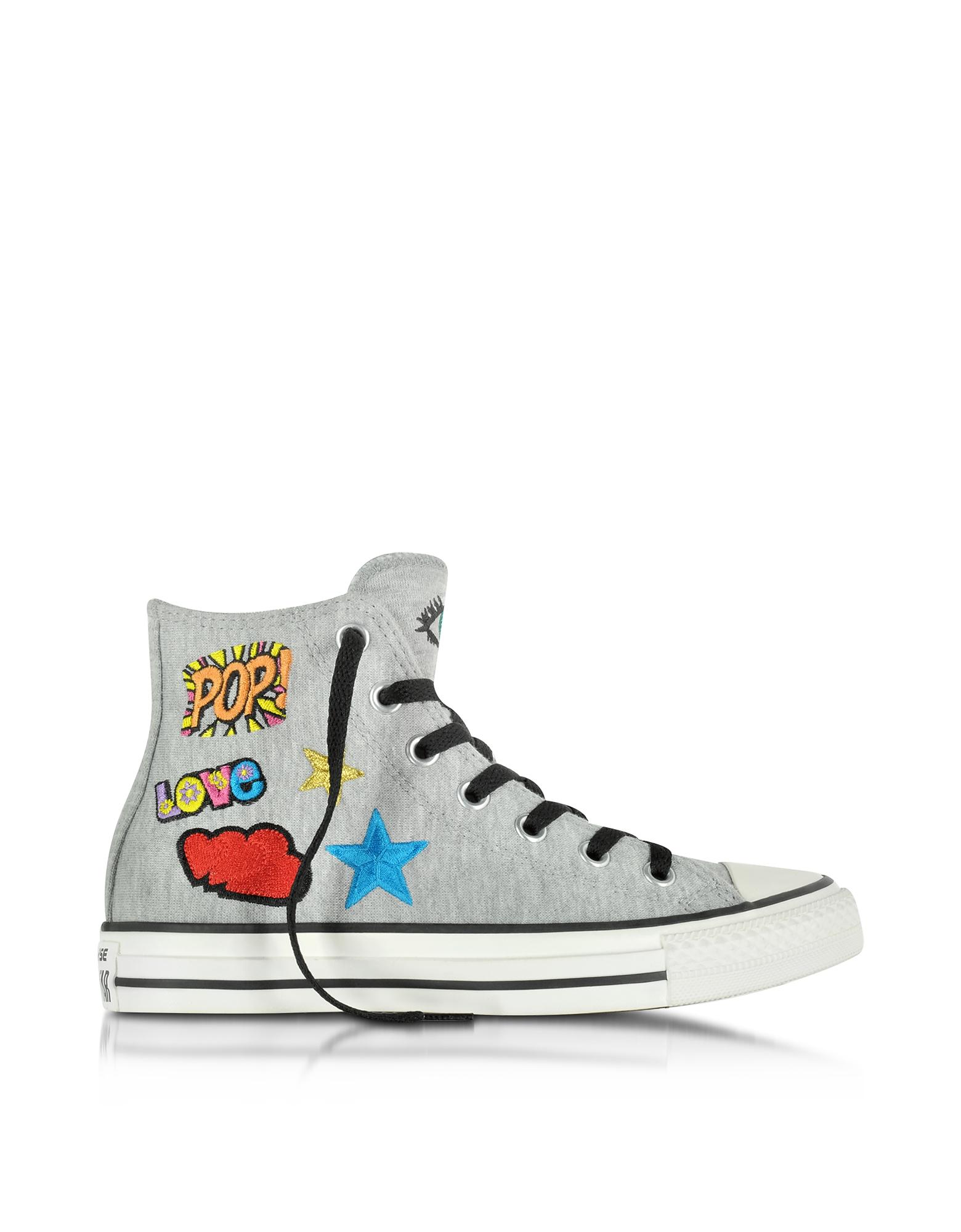 Converse Limited Edition All Star - Высокие Меланжево-серые Женские Кеды с Нашивками из Плиса