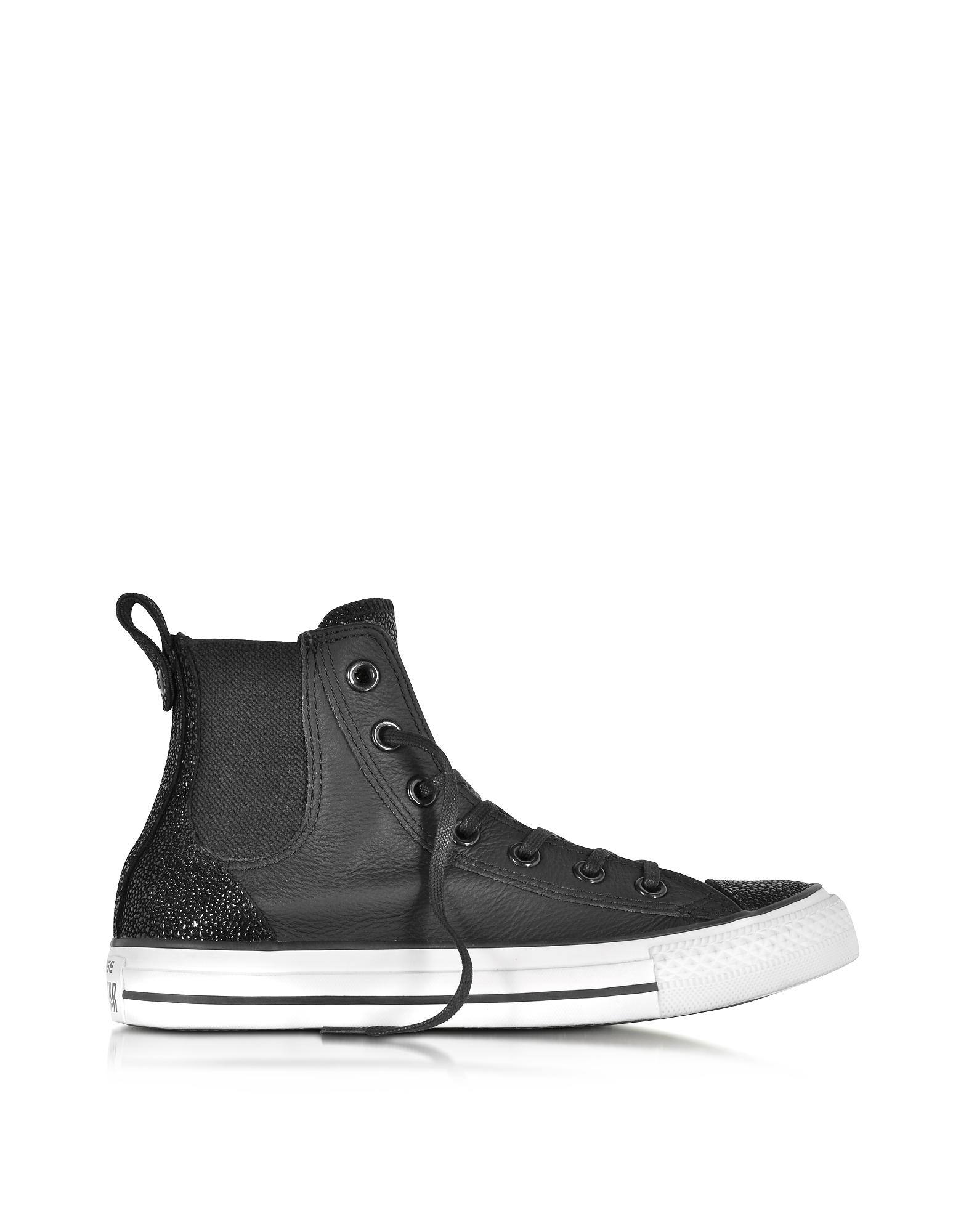 Converse Limited Edition All Star - Высокие Черные Кожаные Женские Кеды Chelsee
