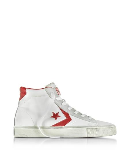 Foto Converse Limited Edition Pro Leather Vulc Sneaker Unisex Mid Top in Pelle Invecchiata Scarpe