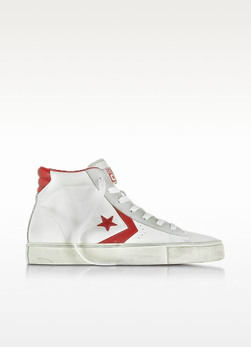 Pro Leather Vulc White and Red  Mid Top Unisex Sneakers - Converse Limited Edition