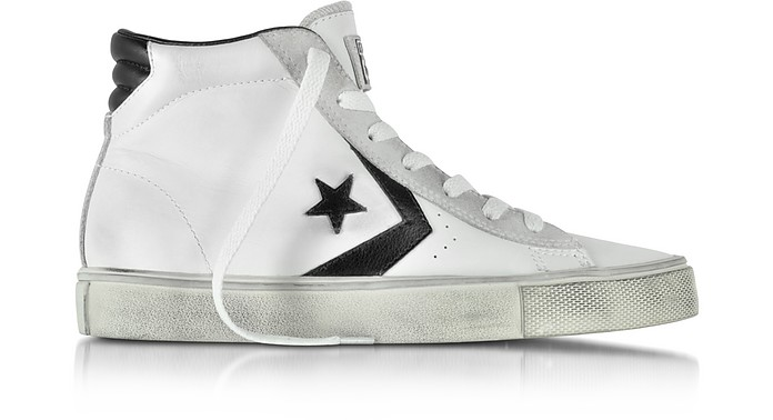 Pro Leather Vulc White and Black Mid Top Unisex Sneakers - Converse Limited Edition