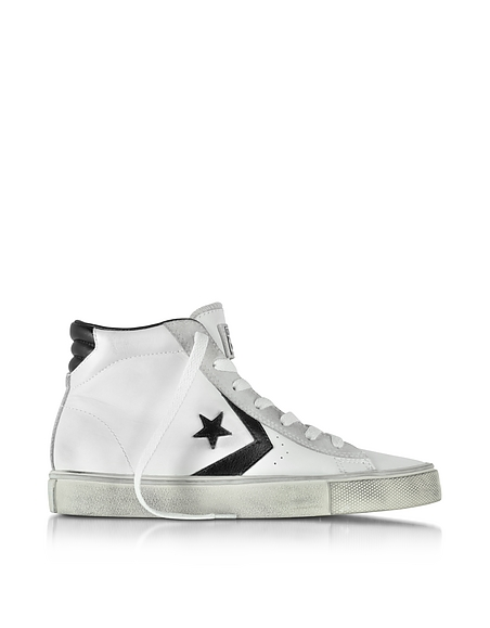 Foto Converse Limited Edition Pro Leather Vulc Sneaker Unisex Mid Top in Pelle Invecchiata Bianca e Nera Scarpe