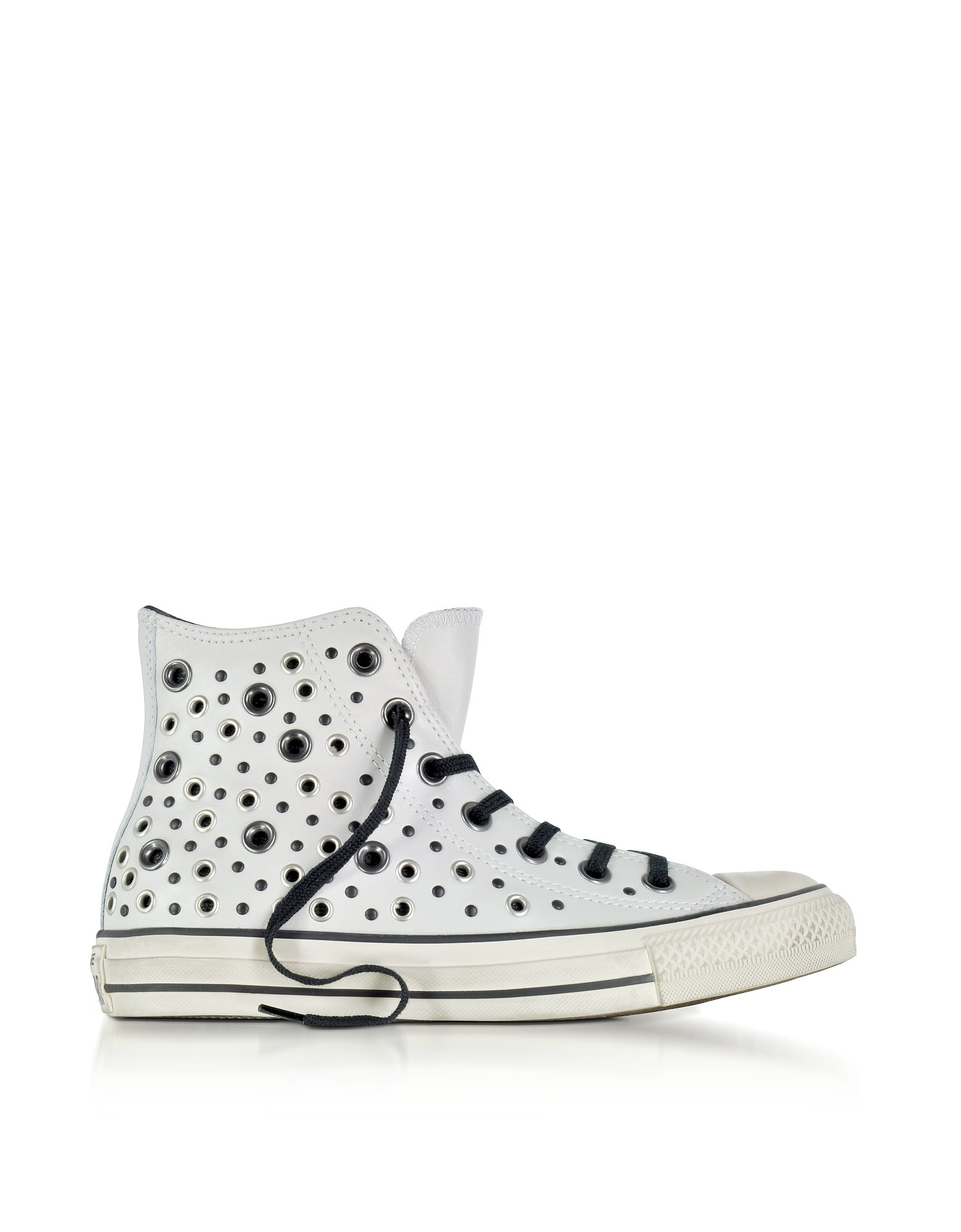 Converse Limited Edition Shoes, Chuck Taylor All Star High Distressed Pale Putty Leather Sneakers w/