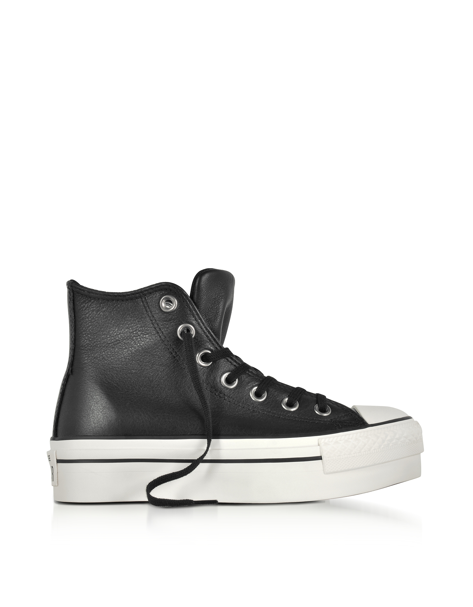 Converse Limited Edition Shoes, Chuck Taylor All Star High Black Leather Flatform Sneakers