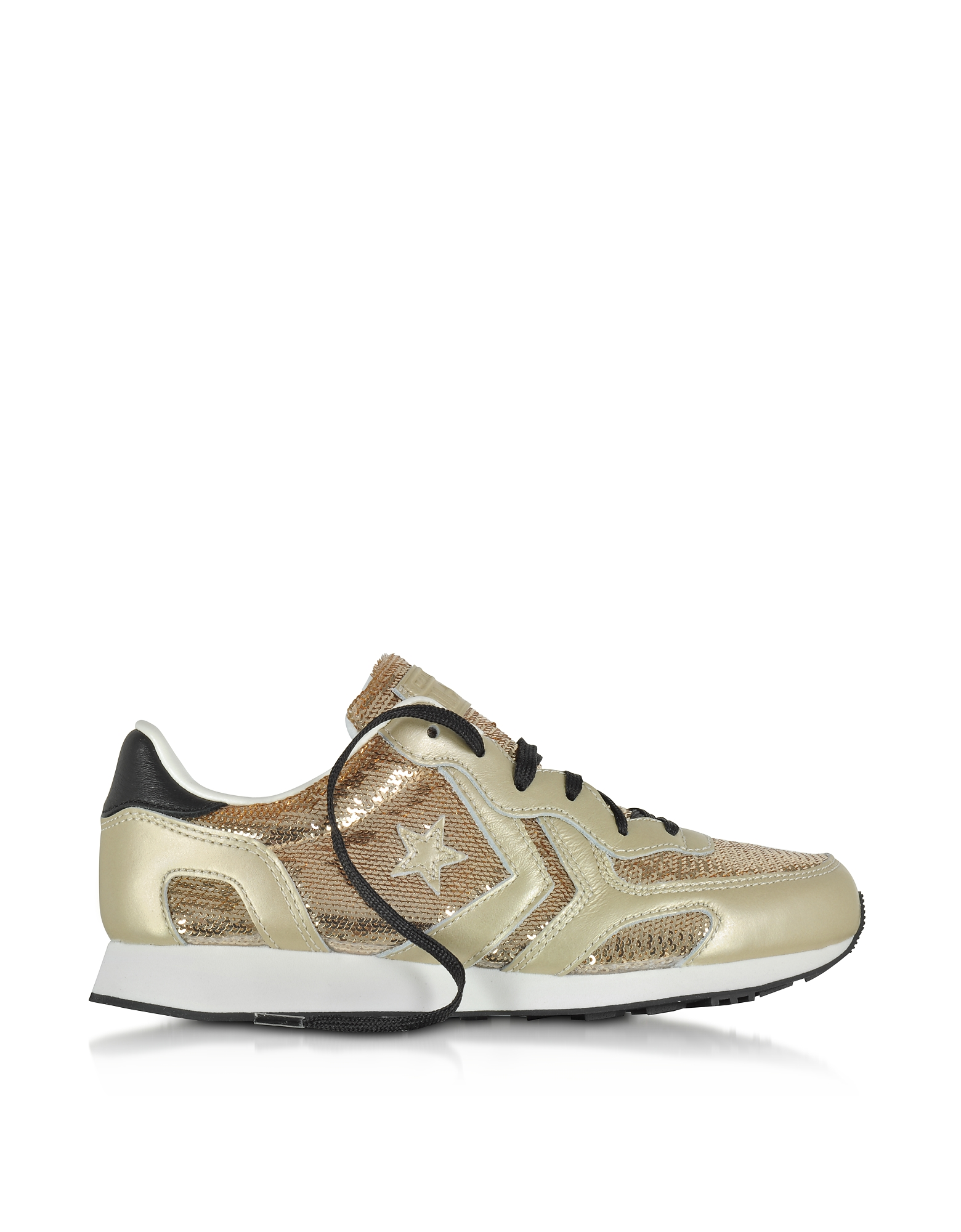 Converse Limited Edition Shoes, Auckland Racer Ox Light Gold Leather Sneakers w/Sequins