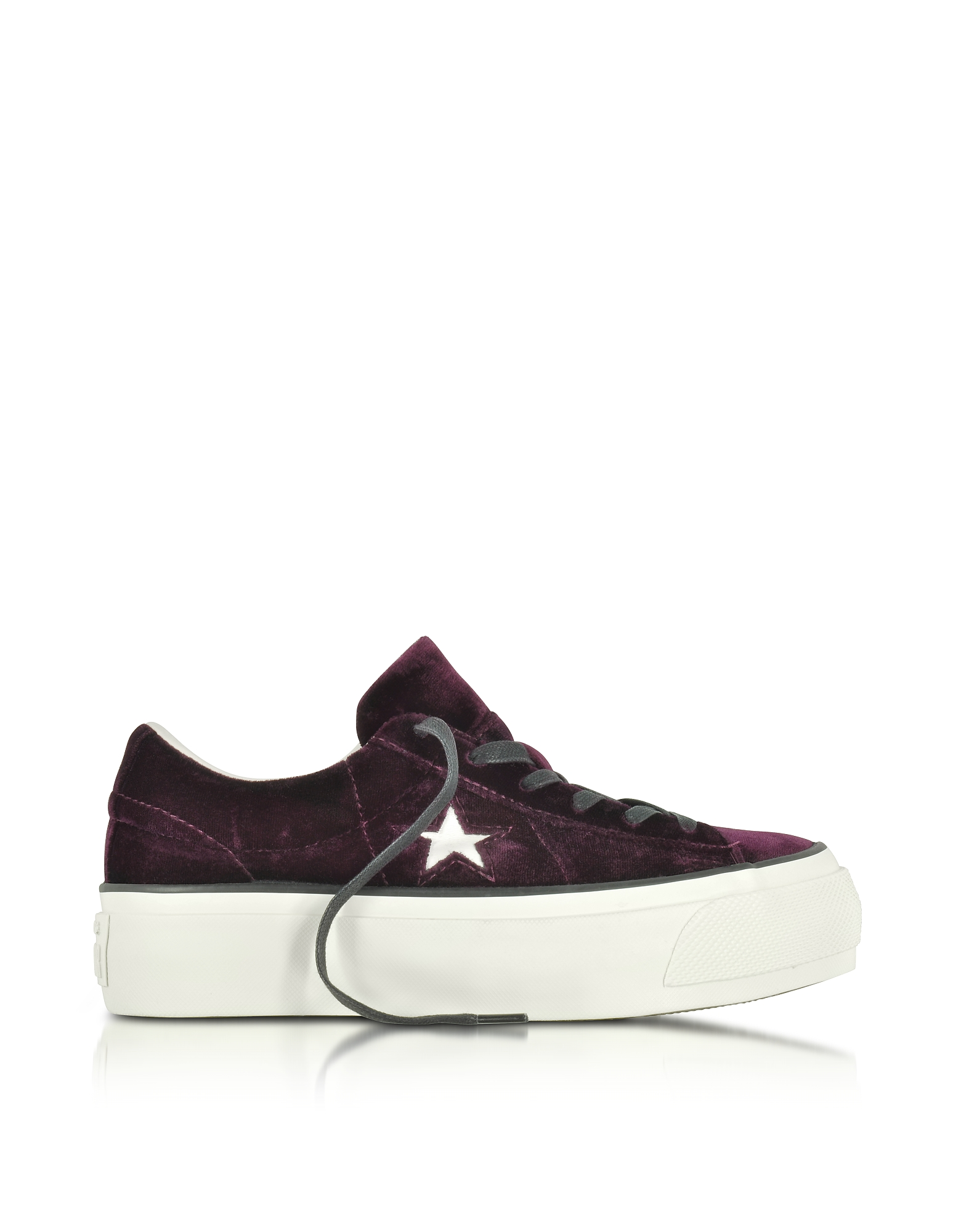 Converse Limited Edition Shoes, One Star Ox Eclipse Port Wine Velvet Flatform Sneakers