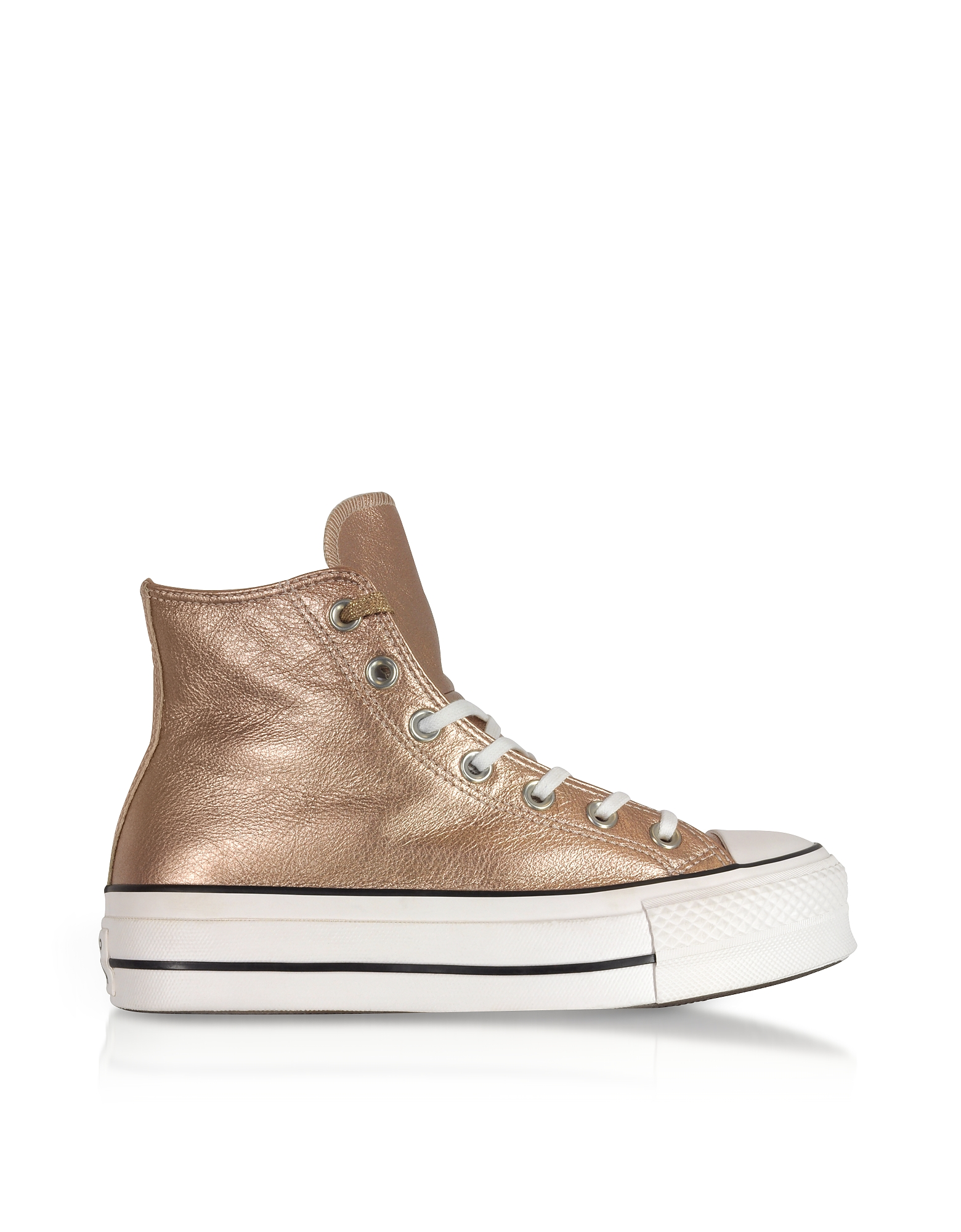 Chuck Taylor All Star High Flatform Sneakers in Canvas Metallizzato Taupe