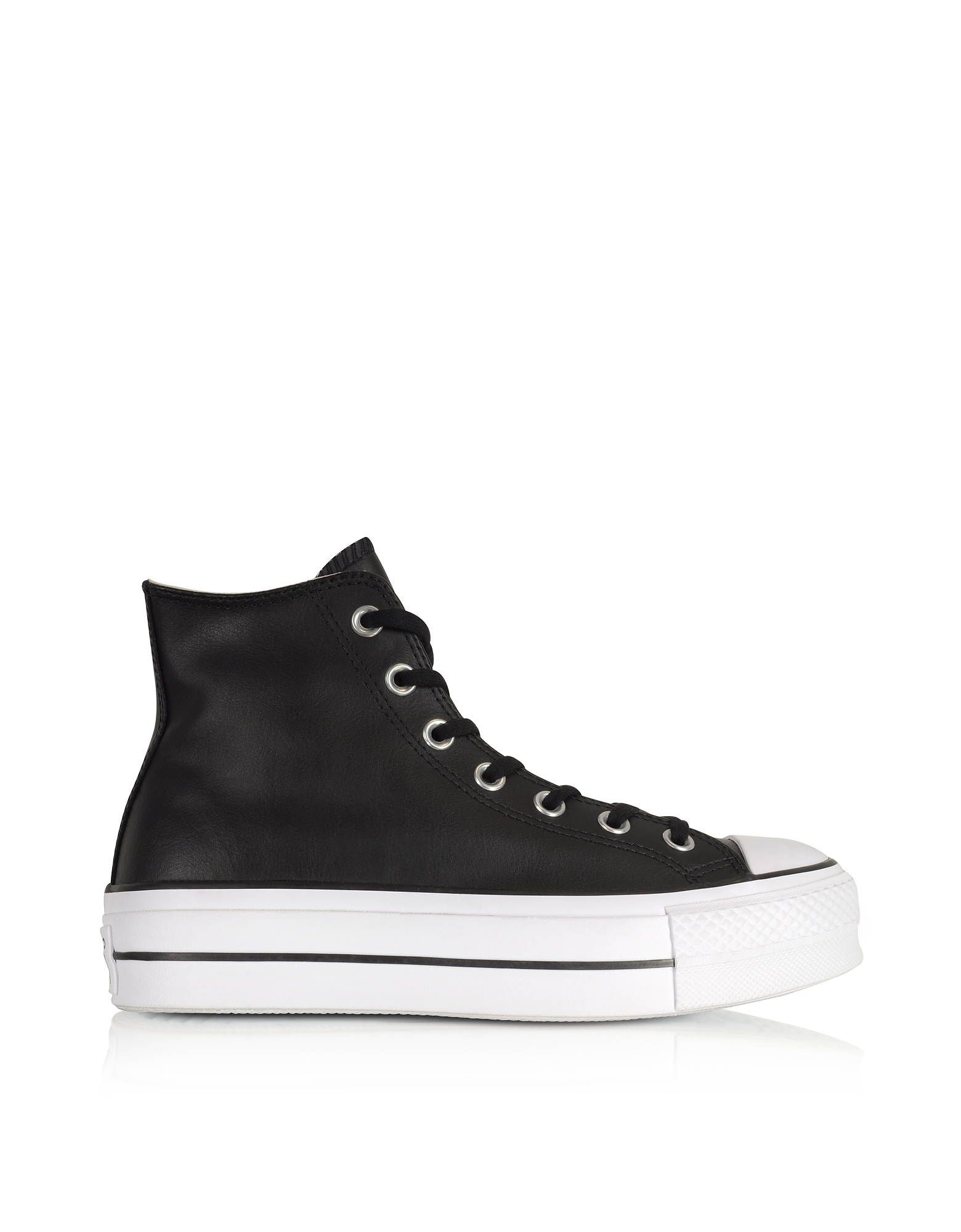 Chuck Taylor All Star High Flatform Sneakers in Pelle Nera