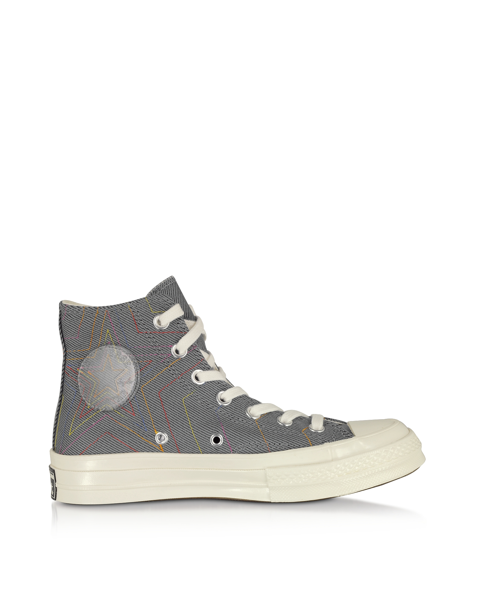Converse Limited Edition Designer Shoes, Cool Gray Chuck 70 Exploding Star High Top
