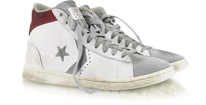 Pro Leather Mid White Distressed Sneaker - Converse Limited Edition