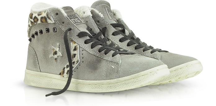 Cons Leopard Print Pro Leather Mid Suede  - Converse Limited Edition