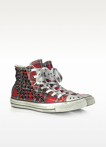 Studded Tartan Canvas and Shearling High Top Sneaker - Converse Limited Edition