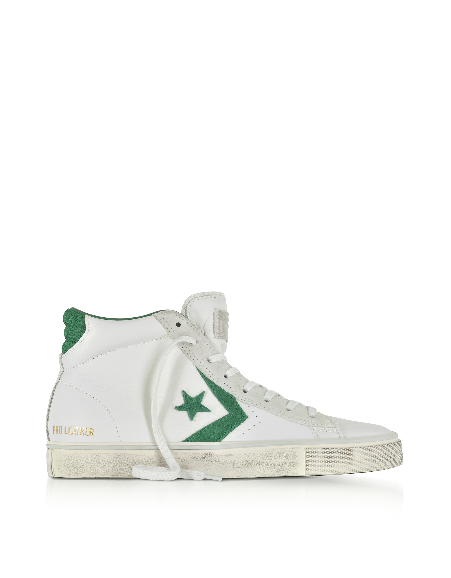 Converse Limited Edition Shoes, Pro Leather Vulc Mid Distressed White Leather and Pine Green Suede S