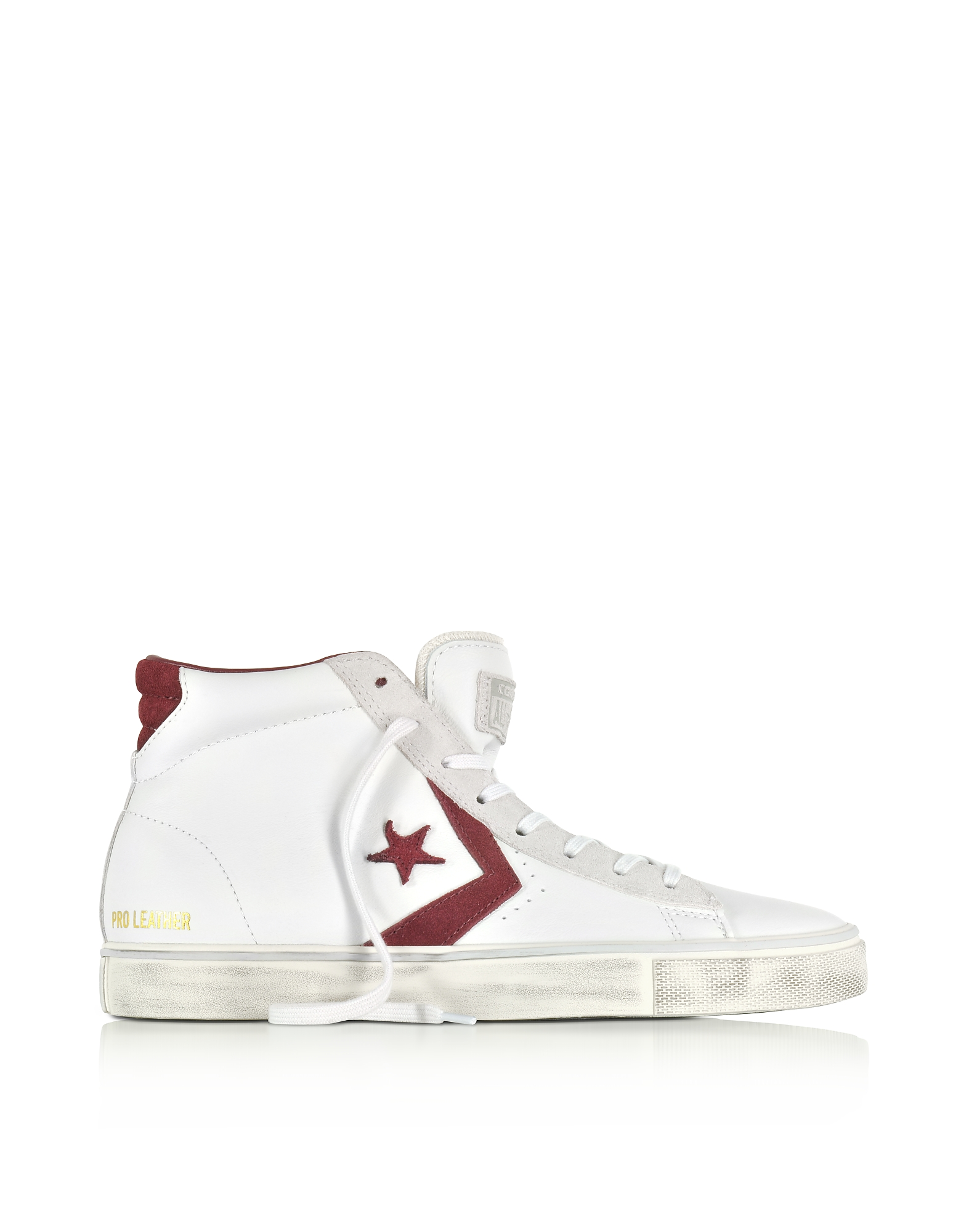 Converse Limited Edition Shoes, Pro Leather Vulc Mid Distressed White Leather and Burgundy Suede Sne