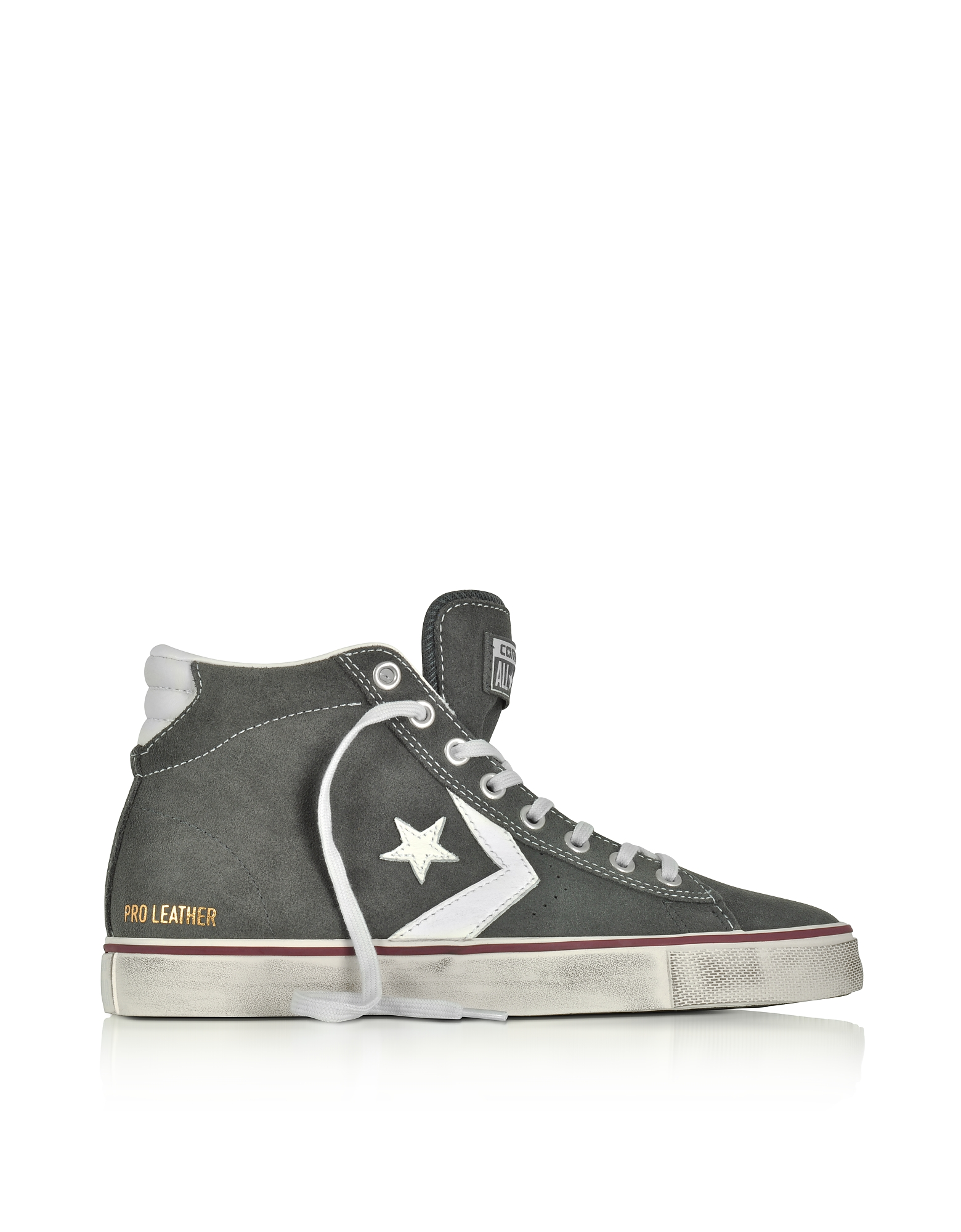 Converse Limited Edition Shoes, Pro Leather Vulc Mid Distressed Gray Suede Sneakers