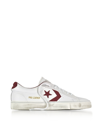 Pro Leather Vulc Low Distressed White Leather Sneakers