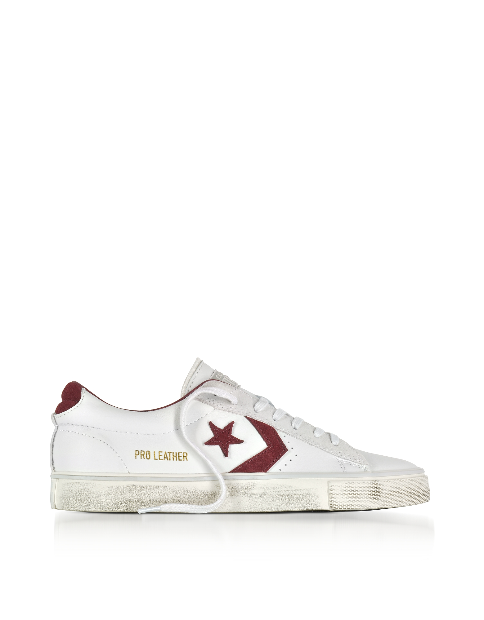 Converse Limited Edition Shoes, Pro Leather Vulc Low Distressed White Leather Sneakers