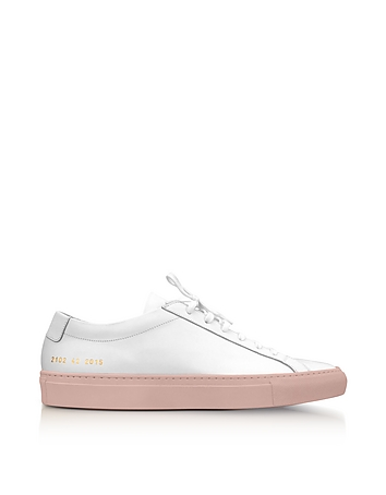White Leather Achilles Low Top Women's Sneakers w/Blush Rubber Sole