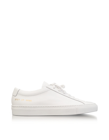 White Leather Achilles Original Low Top Women's Sneakers