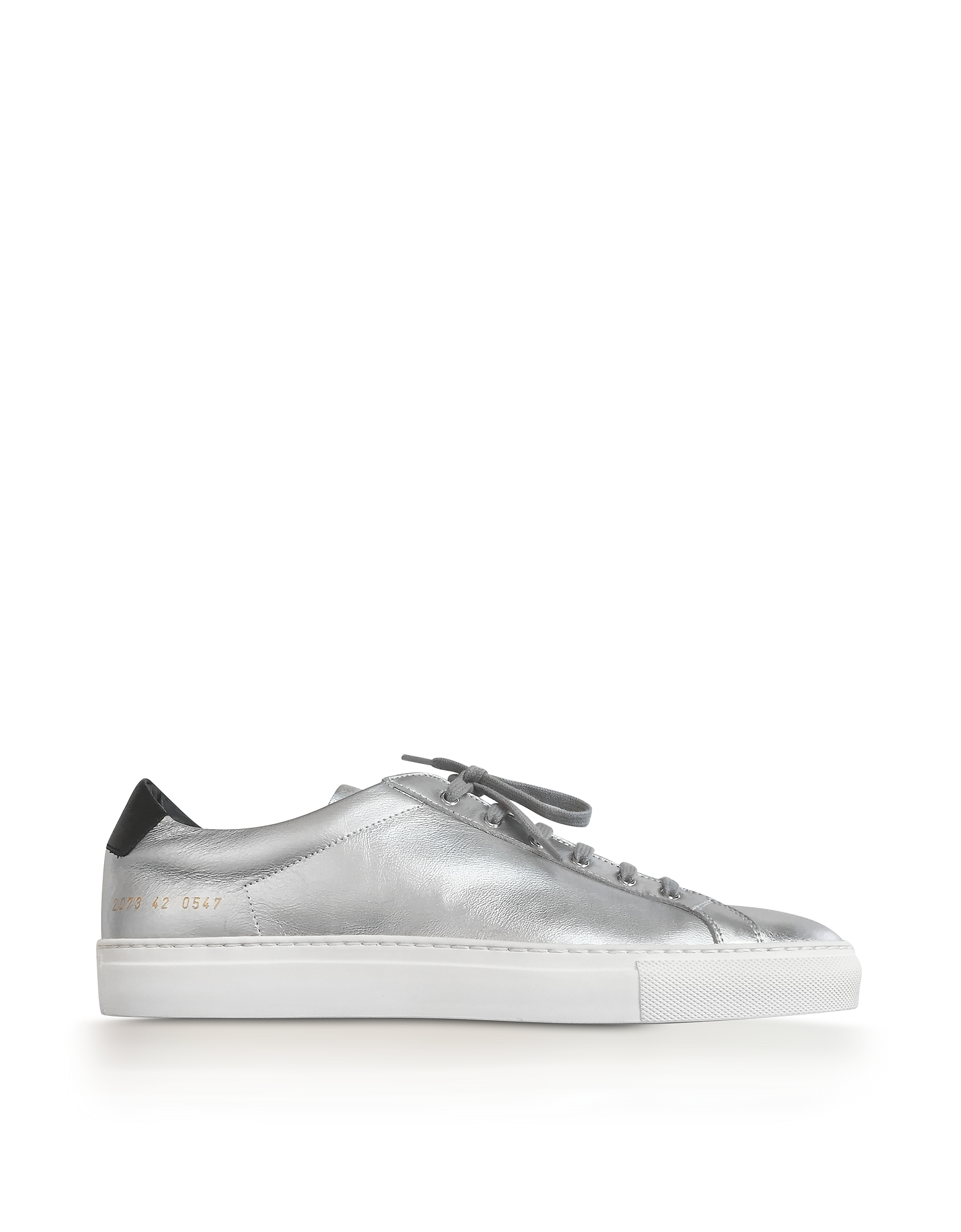Common Projects Shoes, Achilles Retro Low Silver Leather Men's Sneaker