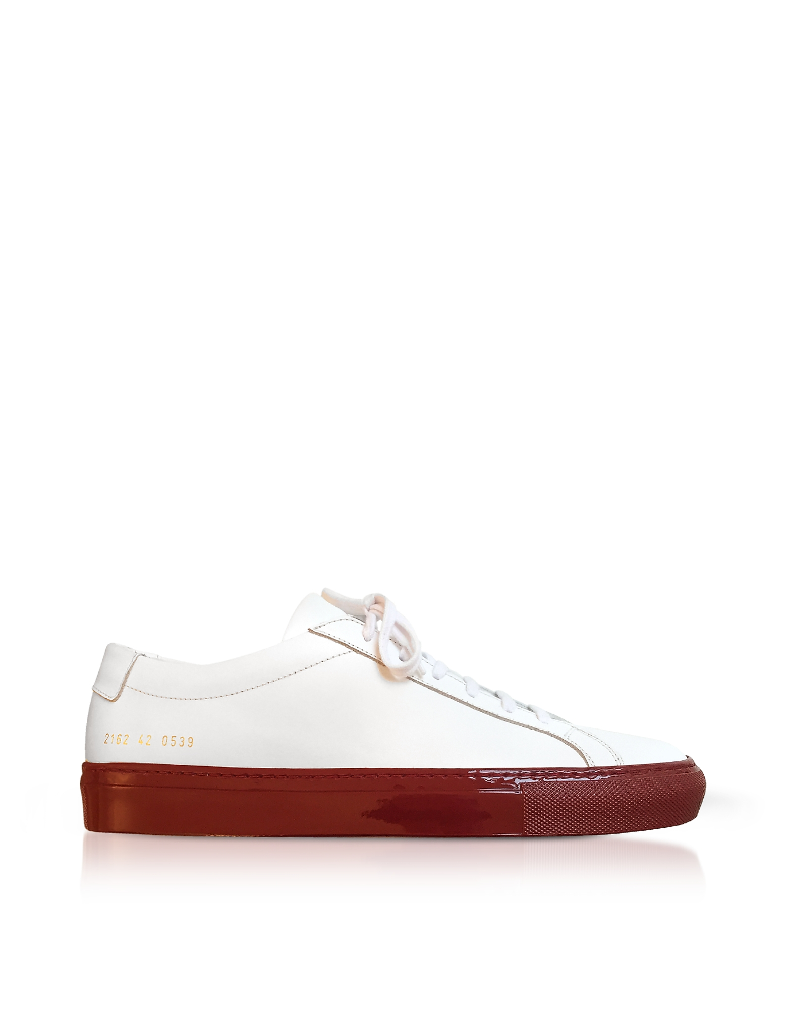Achilles Sneakers Low Top Uomo in Pelle Bianca con Suola Rossa