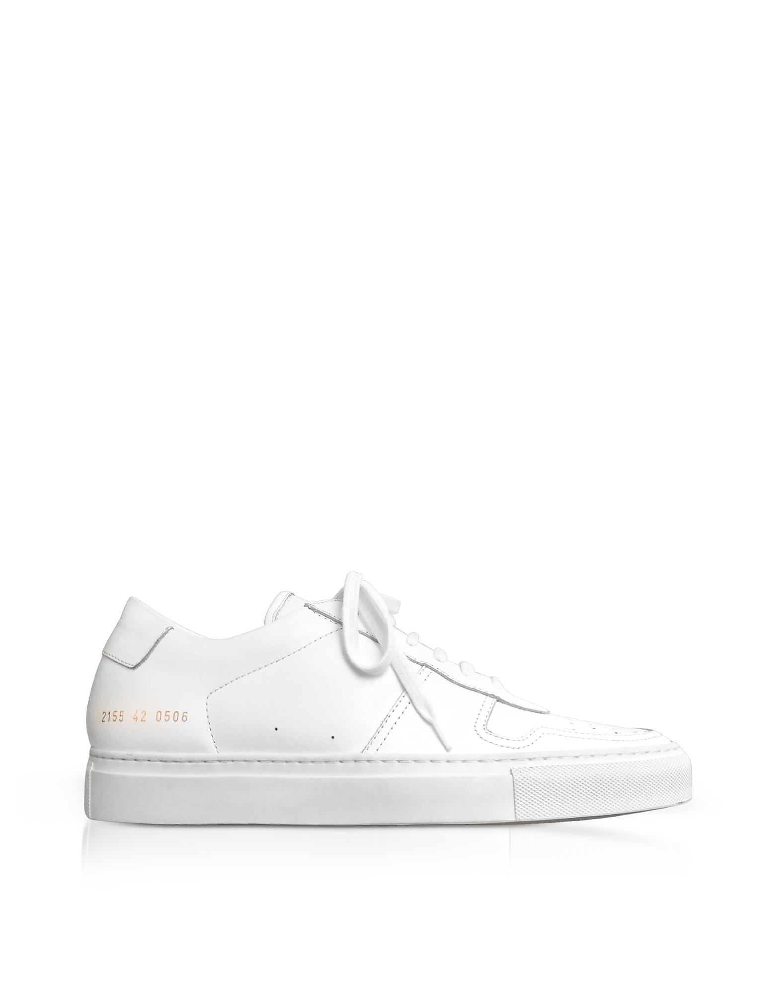 Common Projects Shoes, Bball Low White Leather Men's Sneakers