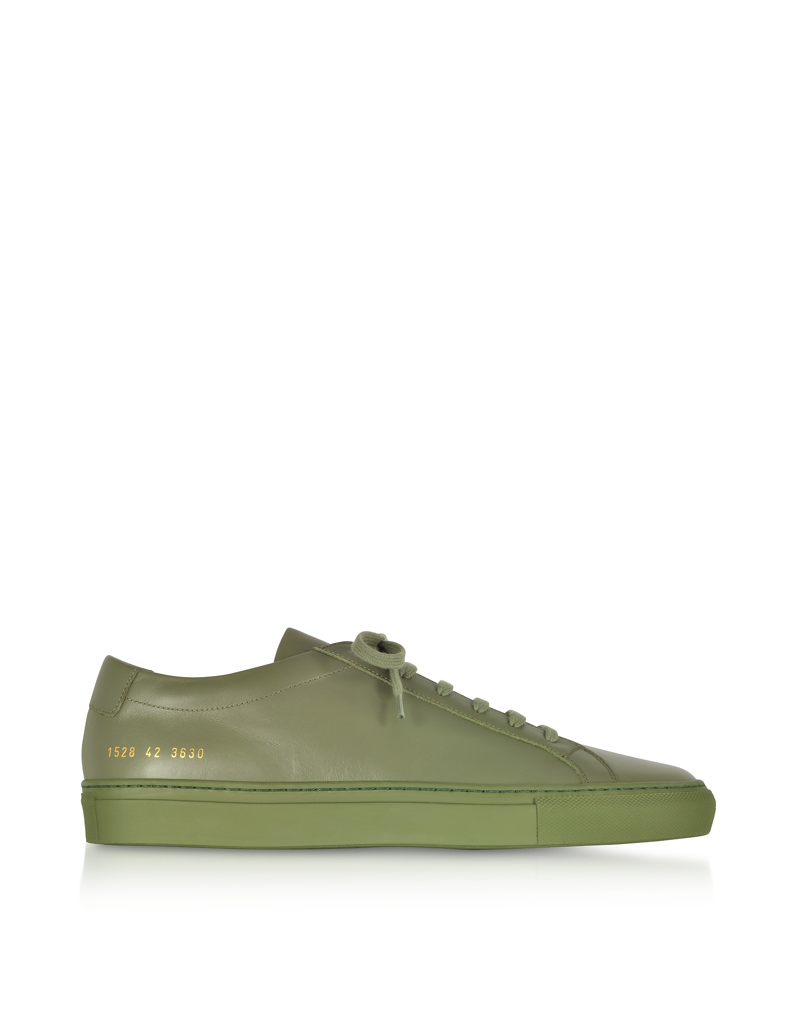 Common Projects Shoes, Army Green Leather Original Achilles Low Men's Snaeakers