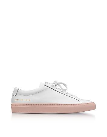 White Leather Achilles Low Top Men's Sneakers w/Blush Rubber Sole
