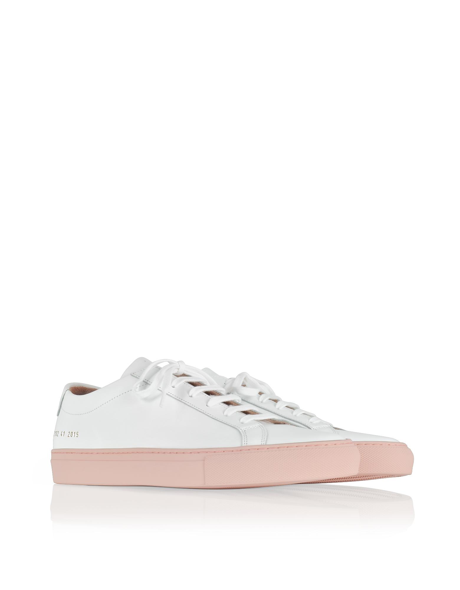 Фото Achilles - Низкие Белые Кожаные Мужские Кроссовки со Светло-Розовой Резиновой Подошвой. Купить с доставкой