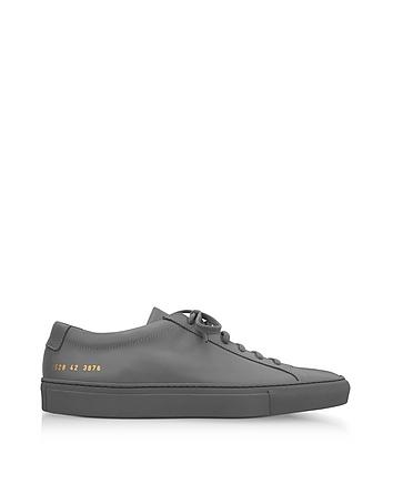 Common Projects - Medium Grey Leather Original Achilles Low Men's Sneakers