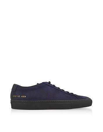 Common Projects - Navy Blue Nubuck Original Achilles Low Men's Sneakers