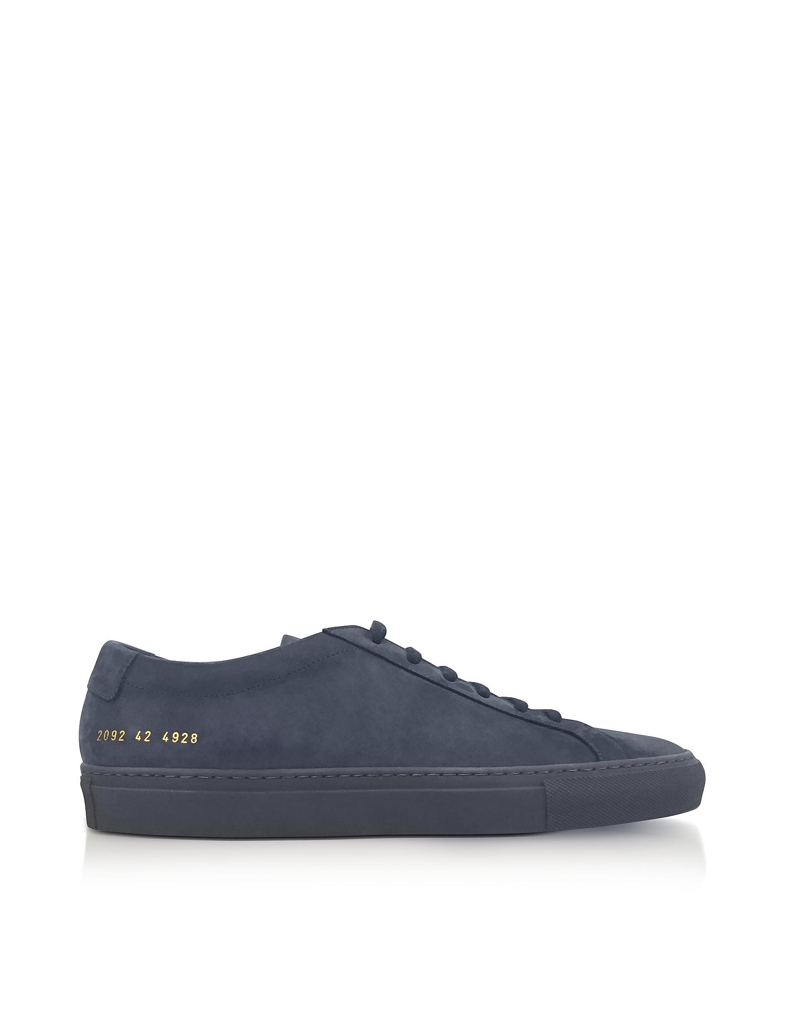 Common Projects Shoes, Navy Blue Nubuck Original Achilles Low Men's Sneakers