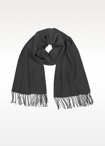 Fringed Solid Wool And Cashmere Pashmina - Coveri Collection