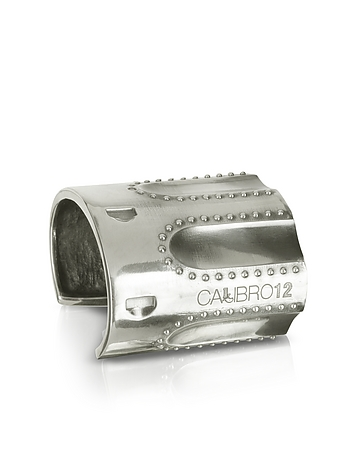 Calibro12 - Revolver Sterling Silver Studded Cuff Bracelet w/Natural Ruby