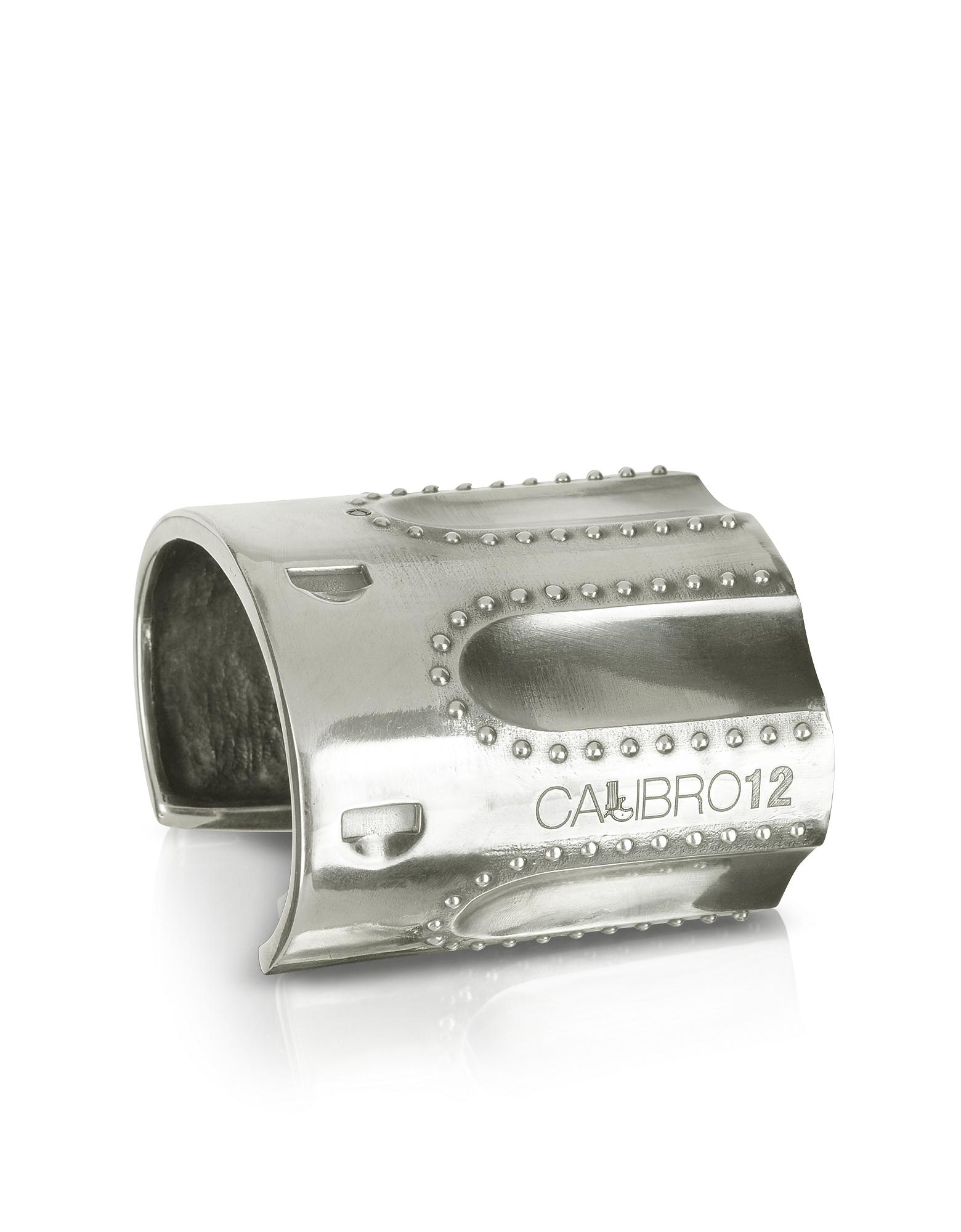 Calibro12 Bracelets, Revolver Sterling Silver Studded Cuff Bracelet w/Natural Ruby