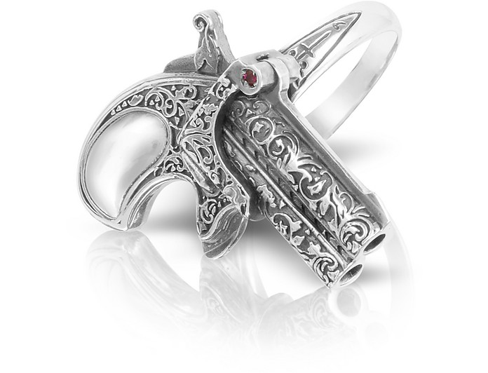 Single Shot Sterling Silver Handmade Ring w/Ruby - Calibro12