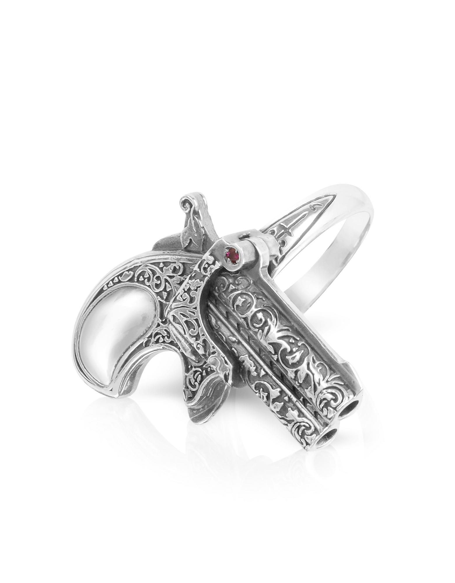 Single Shot - Кольцо из Серебра 925 пробы Ручной Работы с Рубинами