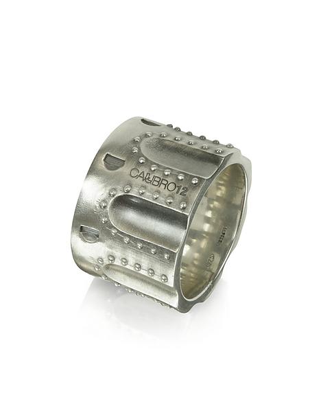 Calibro12 Ring aus gebürstetem Sterling Silber mit Nieten