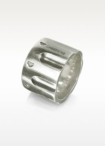 Revolver Brushed Sterling Silver Ring w/Chain - Calibro12
