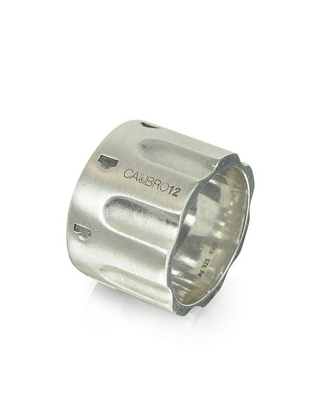 Calibro12 Revolver Sterling Silber Ring mit Kette