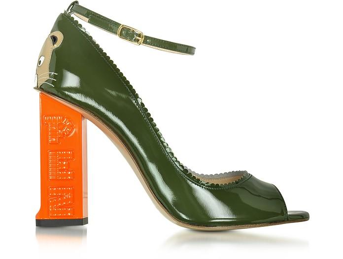 Pez Classics Africa Khaki Patent Leather Pump - Camilla Elphick