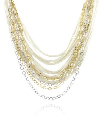Daco Milano Halskette mit Ketten aus Sterlingsilber und Bändern