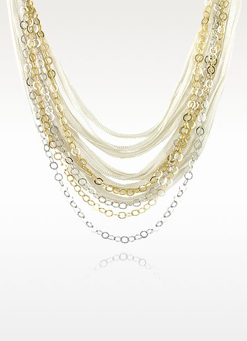 Multi-strand Sterling Silver Lace Chain Necklace - Daco Milano