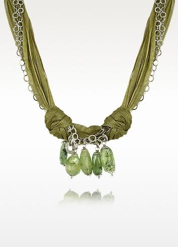 Green Gemstone Drops Multi-strand Sterling Silver Lace Necklace - Daco Milano